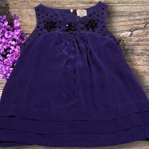 F 21 • Dark Purple Embellished Silk Blouse Size M